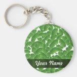 Green Irish shamrocks personalized Basic Round Button Keychain