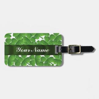 Green Irish shamrocks personalized Luggage Tag
