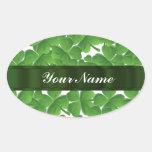 Green Irish shamrocks personalized Oval Stickers