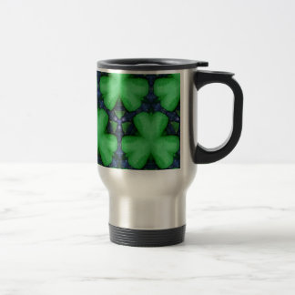 Green Irish Shamrocks Travel Mug