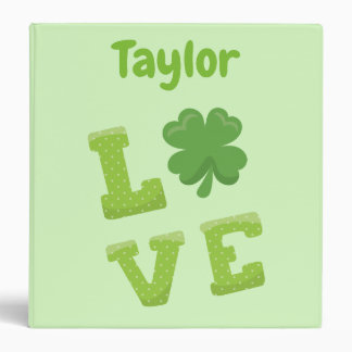Green Irish St Patricks Day Love Binders