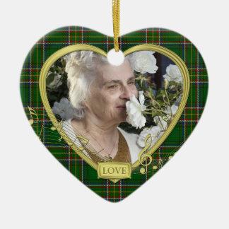 Green Irish Tartan Memorial Heart Photo Christmas Christmas Tree Ornaments