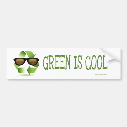 GREEN IS COOL BUMPER STICKER