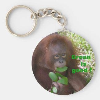 Green is Good Great Ape Fan Keychain