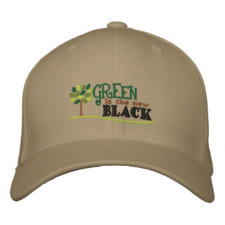Green Is New Black Embroidered Hat