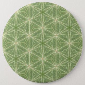 Green Ivy Leaf Geometric Design Badge 6 Inch Round Button