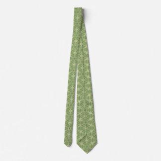 Green Ivy Leaf Geometric Design Tie