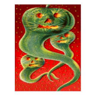 Green Jack O' Lantern Ghost Pumpkin Post Card
