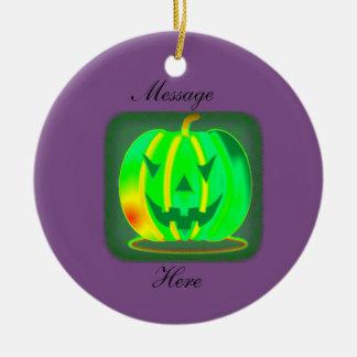 Green Jack o'lantern Halloween Thunder_Cove Ceramic Ornament