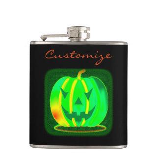 Green Jack o'lantern Halloween Thunder_Cove Hip Flask