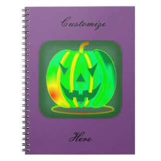 Green Jack o'lantern Halloween Thunder_Cove Spiral Notebook