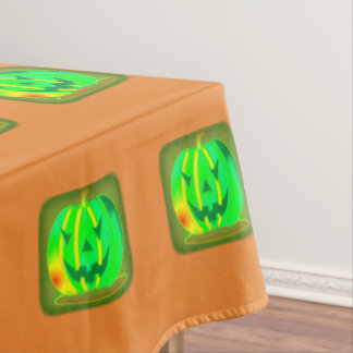 Green Jack o'lantern Halloween Thunder_Cove Tablecloth