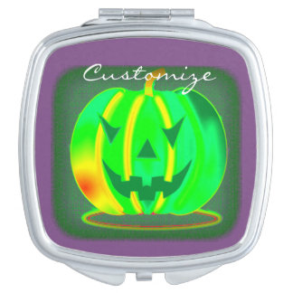 Green Jack o'lantern Halloween Thunder_Cove Vanity Mirror