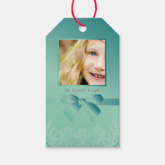 Green Jade Damask Personalized Photo Template Pack Of Gift Tags