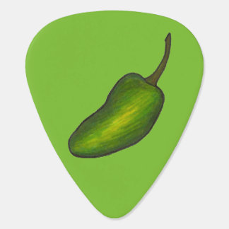 Green Jalapeño Pepper Hot Peppers Foodie Food Guitar Pick