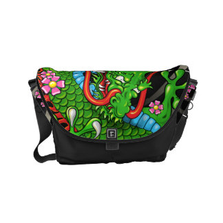 Green Japanese Dragon Tattoo with Wind Bars Commuter Bag
