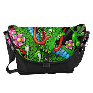 Green Japanese Dragon Tattoo with Wind Bars Messenger Bag