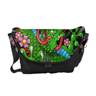 Green Japanese Dragon Tattoo with Wind Bars Messenger Bags