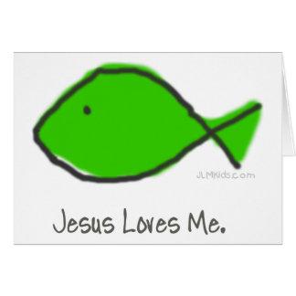 Green Jesus Fish Greeting Card