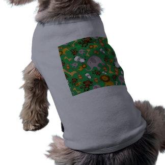 Green jungle safari animals doggie shirt