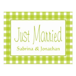 Green Just Married Gingham Plaid Wedding Checks Postcard