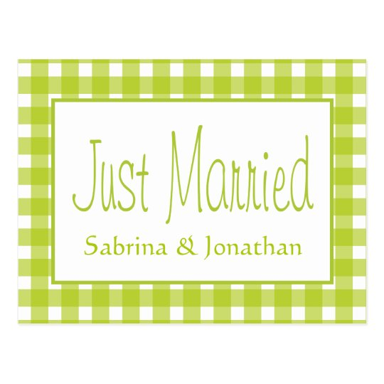 Green Just Married Gingham Plaid Wedding Checks Postcard