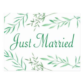 Green Just Married Laurel Leaf Watercolor Wedding Postcard