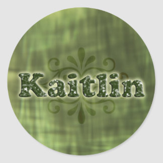 Green Kaitlin Round Sticker