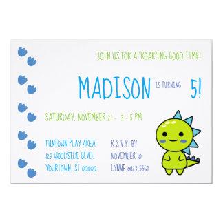 Green Kawaii Dinosaur Birthday Party Invitation