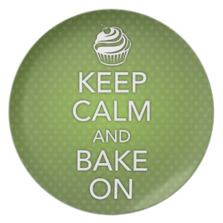 Green Keep Calm and Bake On Plate
