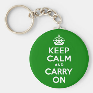 Green Keep Calm and Carry On Keychain