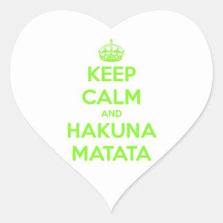 Green Keep Calm and Hakuna Matata Heart Sticker