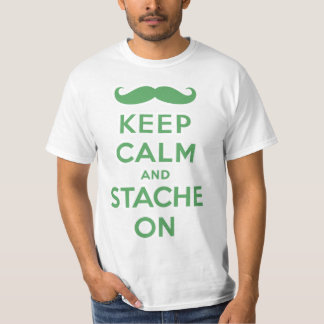 Green keep calm and stache on T-Shirt