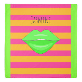 Green kiss lips orange pink stripes duvet cover