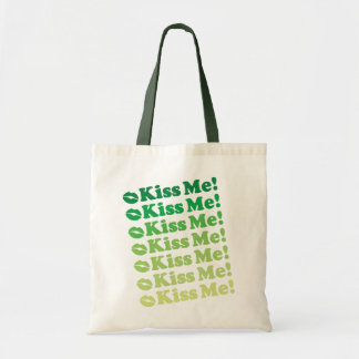 Green Kiss Me Kiss Me Pattern Tote Bag