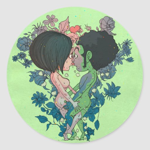 Green Kiss Round Stickers