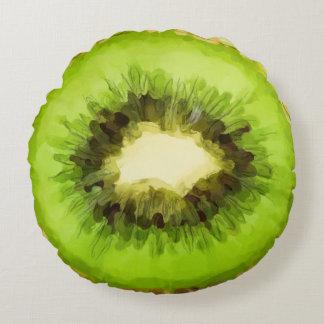Green Kiwi Fruit Round Pillow