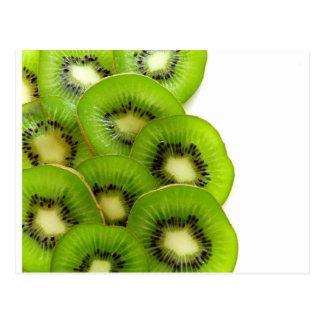 Green Kiwi Fruit Slices  - Fruit Print Postcard