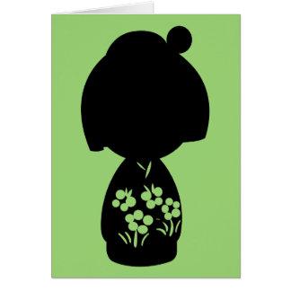 Green Kokeshi Triplet Silhouette Note Card