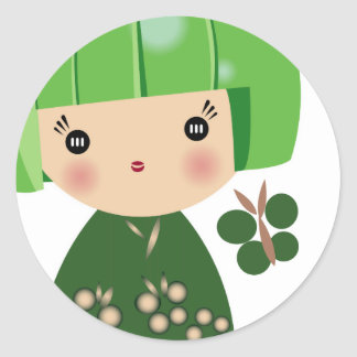 Green Kokeshi Triplet Sticker
