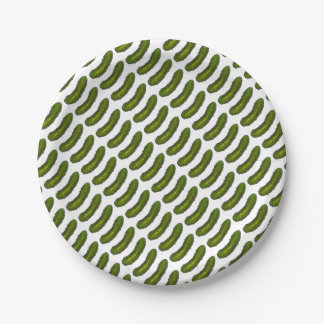 Green Kosher Dill Pickle Foodie Print Cucumber Paper Plate