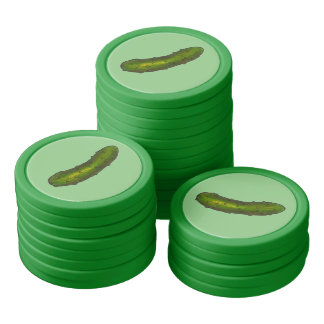 Green Kosher Dill Pickle Pickles Food Poker Chip