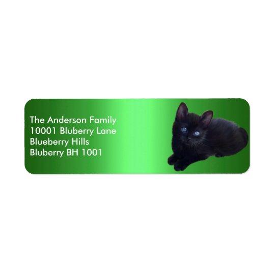 Green Label Return Address Black Cat Return Address Label