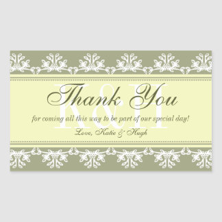 Green lace border thank you out of town gift bag