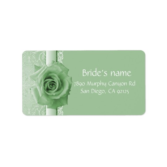 Green Lace Damask Beauty Rose Address label
