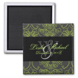 Green Lace Damask Wedding, Magnets