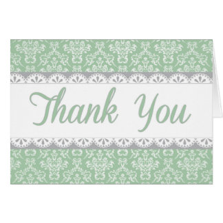 Green Lace Thank You Card
