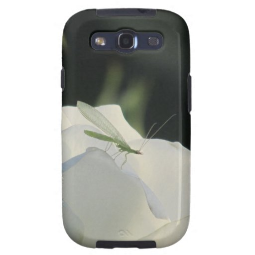 Green Lacewing on White Rose Samsung Galaxy S3 Cas Samsung Galaxy SIII Cover