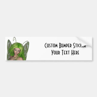 Green Lady Fairy 1 - 3D Fantasy Art - Bumper Sticker
