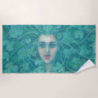 Green Lady, Forest Queen, pastels, fantasy art Beach Towel